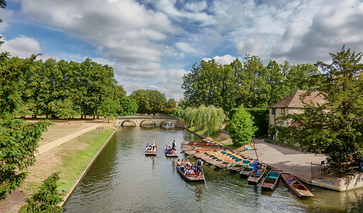 Punts on the river Cam